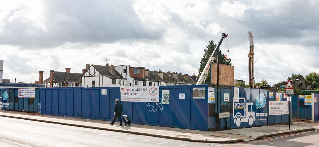 Blue Hoarding Art Project in Streatham